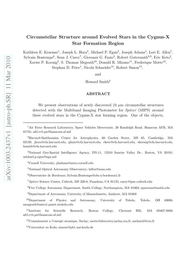 Kathleen E. Kraemer - Circumstellar Structure around Evolved Stars in the Cygnus-X Star Formation Region