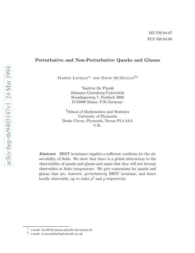 Martin Lavelle - Perturbative and Non-Perturbative Quarks and Gluons